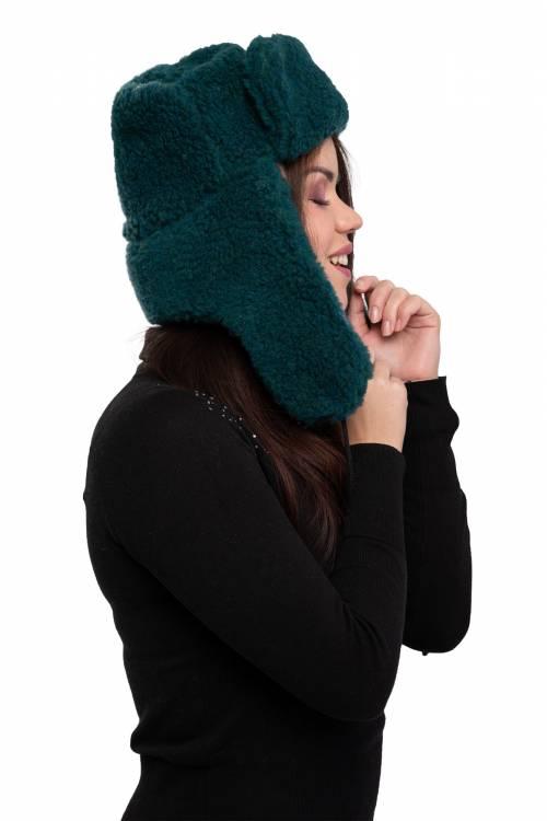 Шапка-ушанка, цвет Зеленый