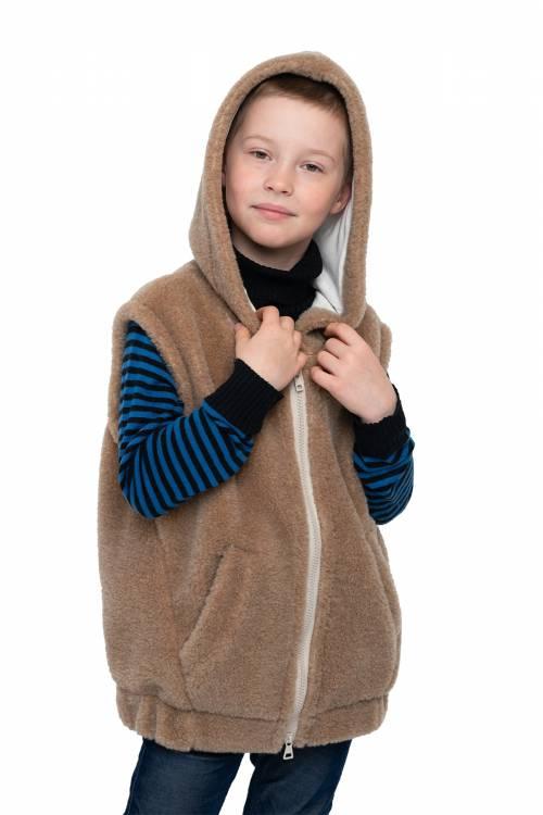Жилет детский NORD с капюшоном (верблюжья шерсть)