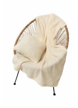 Комплект подушка+плед БУКЛЕ (цвет Ваниль)