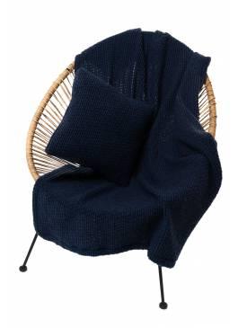Комплект подушка+плед БУКЛЕ (цвет Индиго)