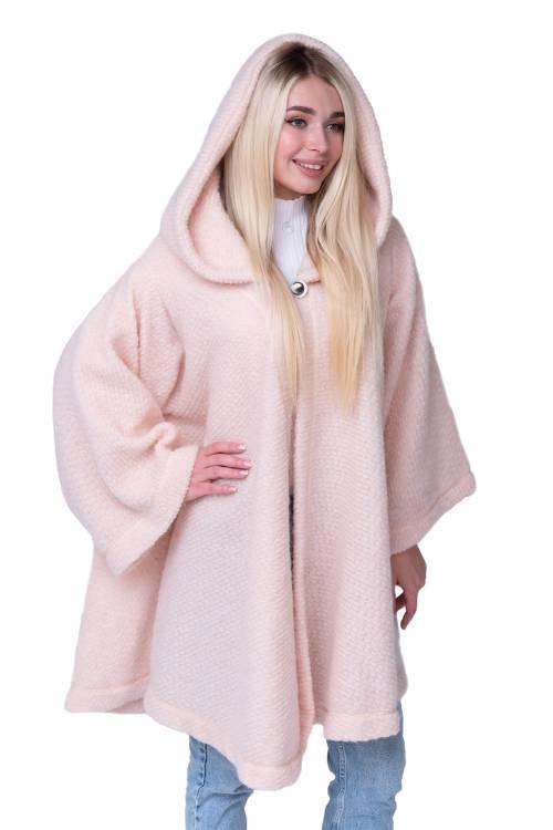 Пончо с капюшоном из овечьей шерсти, цвет Пудра