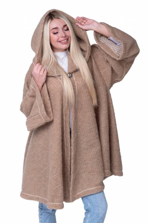 Пончо с капюшоном из верблюжьей шерсти, цвет Кемел