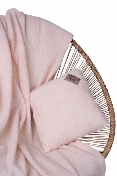 Комплект подушка+плед БУКЛЕ (цвет Пудра)