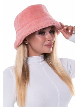 Меховая панама Лосось Розовая