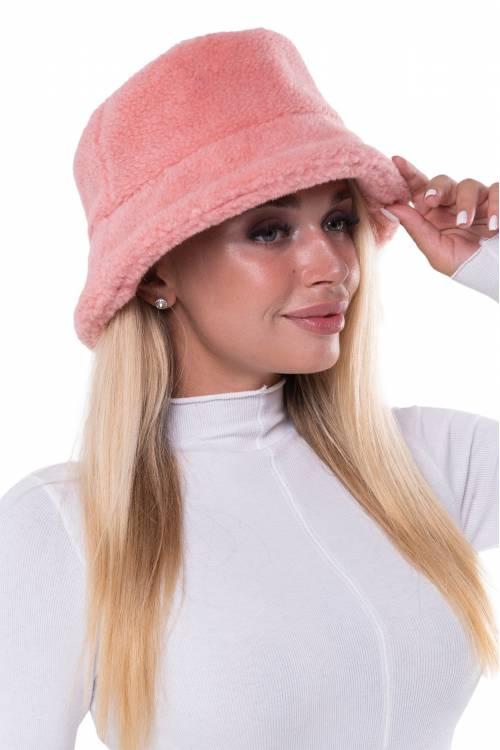 Меховая панама из овечьей шерсти Лосось Розовая