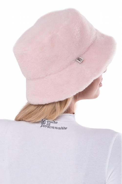 Меховая панама из овечьей шерсти Пудра Розовая