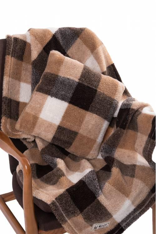 Комплект подушка+плед меховой Клетка КОРИЧНЕВЫЙ