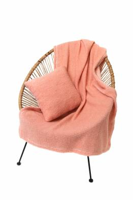 Комплект подушка+плед БУКЛЕ (цвет Лосось)