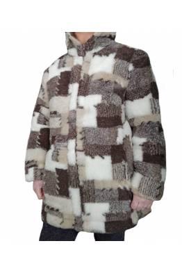 """Куртка меховая """"ЗАПЛАТКА"""" с капюшоном (размер 50-52)"""