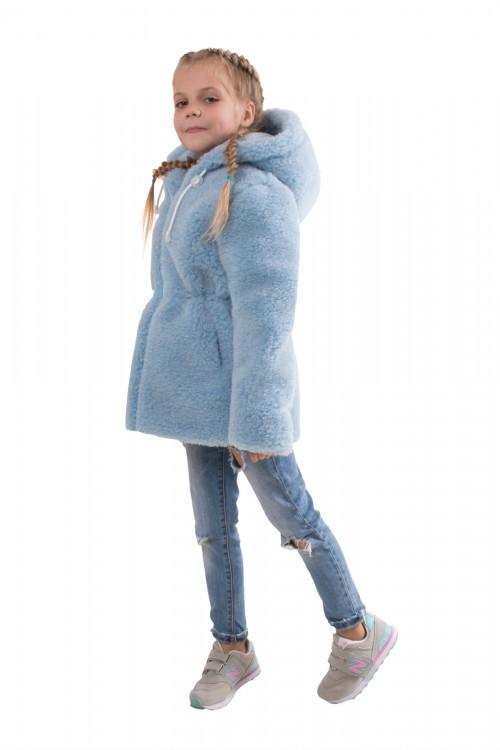 """Шуба детская из овечьей шерсти (цвет """"Голубой"""")"""