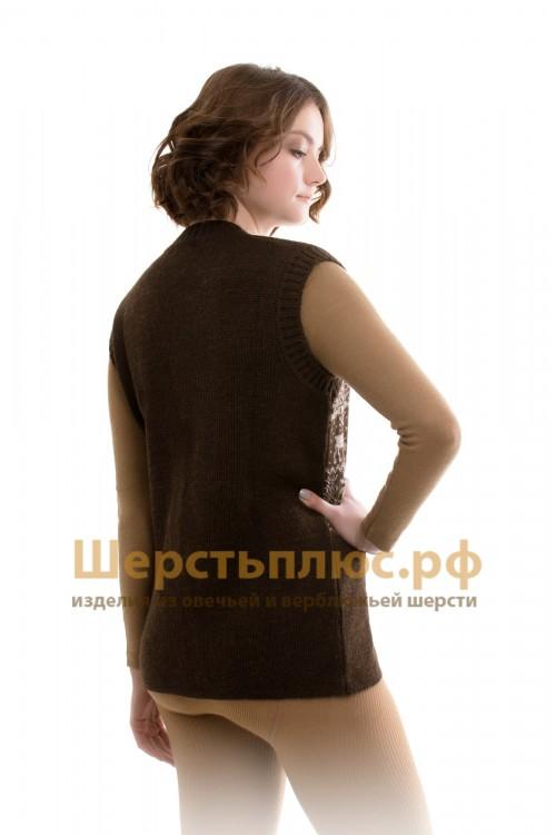 Безрукавка женская вязаная ОЛЕНИ серый - размер 50-52