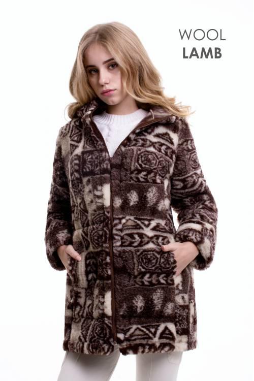 """Куртка из овечьей шерсти """"АНТАРКТИДА"""" с капюшоном"""