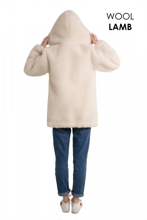 Экошубка с капюшоном ВАНИЛЬ, укороченная (длина 65см)