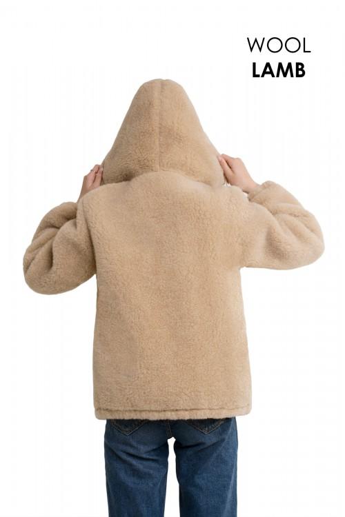 Экошубка с капюшоном КАРАМЕЛЬ, удлиненная (длина 80см)