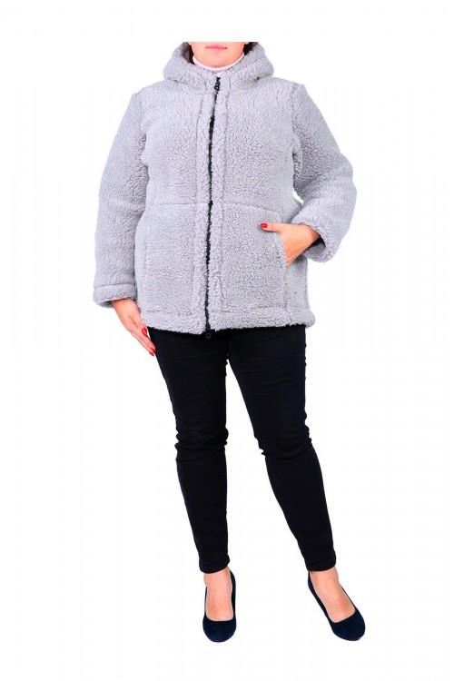 """Куртка  меховая """"СИБИРЬ""""-Серая (размер 52-54) с капюшоном"""