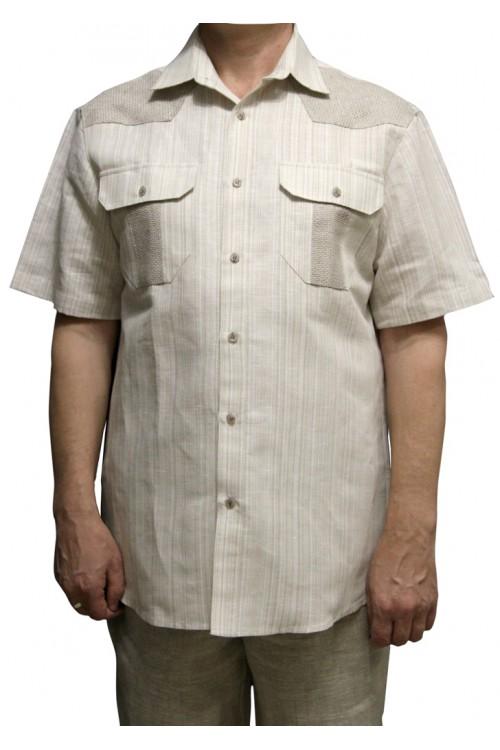 Рубашка льняная со вставками