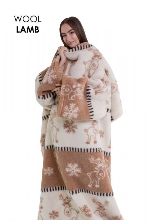 """Плед с рукавами из овечьей шерсти """"Скандинавия"""""""